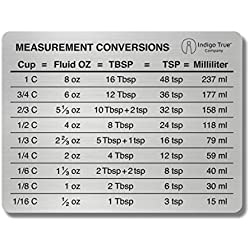 Measurement Conversion Chart Refrigerator Magnet - ORIGINAL DESIGN Stainless Steel   Conversions For Cups, Fluid Oz, Tablespoons, Teaspoons and Milliliters   Only from Indigo True Company