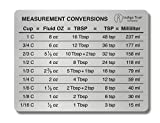 Measurement Conversion Chart Refrigerator Magnet - ORIGINAL DESIGN Stainless Steel | Conversions For Cups, Fluid Oz, Tablespoons, Teaspoons and Milliliters
