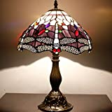 Red & Yellow Dragonfly 12inch Tiffany Table Lamp (Purple)