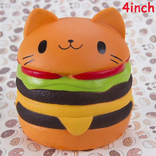 Watinc Kawaii 1 Pcs Jumbo Food Squishise Cat Hamburgers