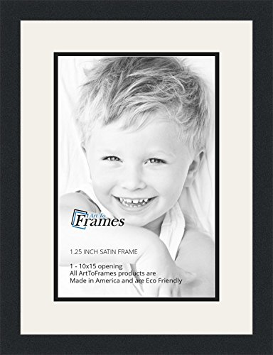 - ArtToFrames Collage Photo Frame Double Mat with 1-10x15 Openings and Satin Black Frame