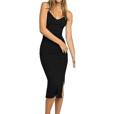 2554f3414b43 DAYLIN Newest Clearance Womens Lady Soft Daily Sleeveless V-Neck Strappy  Tank Slim Rib Knit Split Party MiDi Dress Hot Sell  Amazon.co.uk  Clothing