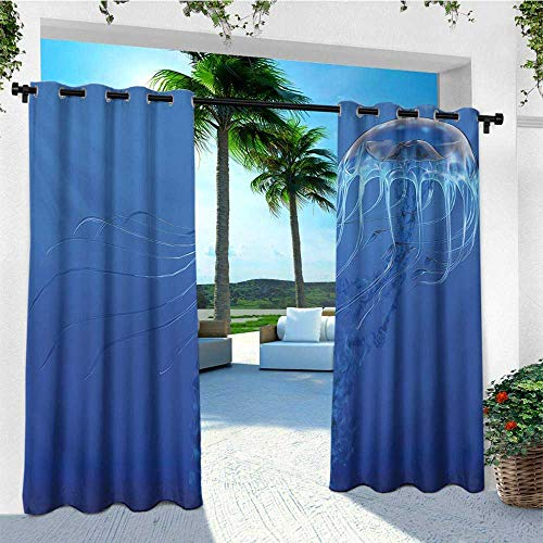 leinuoyi Jellyfish, Outdoor Curtain of Lights, Blue Spotted Jelly Fish Aquarium Life Marine Animals Ocean Predator in The Deep Water, for Patio W84 x L96 Inch Blue