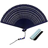 JSSWB Blue Mini Handmade Lacquer Hand Held Bamboo Fans with Carved Dragonflies