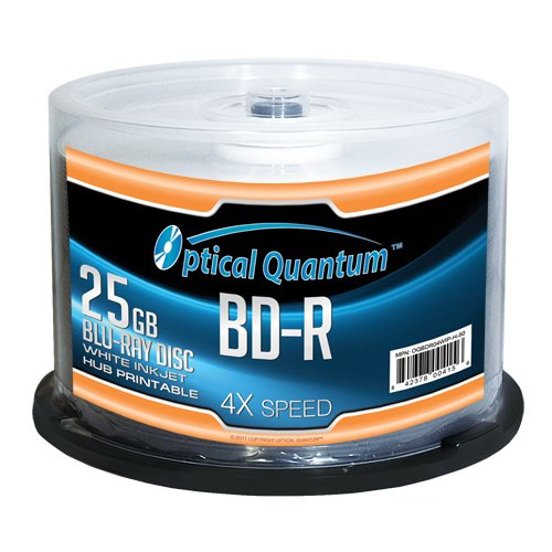 Optical Quantum 25GB 4X Blu-ray Single-Layer Recordable Disc BD-R White Inkjet Printable - 50 discs Spindle VINPOWER DIGITAL DIRECTSHIP OQBDR04WIP-H-50