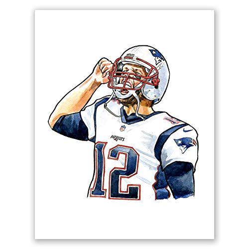 AtoZStudio A98 Tom Brady Poster // NFL Wall Art Print // American Football Artwork Picture // Portrait // Home Decor // New England Patriots ()