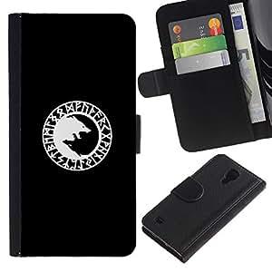 iBinBang / Flip Funda de Cuero Case Cover - Lobo Minimalista Blanca - Samsung Galaxy S4 IV I9500