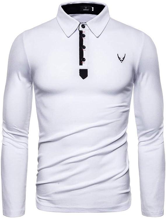 Polos Hombre Mangas Largas Camiseta Algodón Deporte Oficina Botón ...