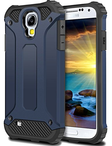 WOLLONY Galaxy S4 Case, Rugged Hybrid Dual Layer Hard Shell Armor Protective Back Case Shockproof Cover for Galaxy S4 Case - Slim Fit - Heavy Duty - Impact Resistant Bumper(Deep Blue) (Best Rugged Galaxy S4 Case)