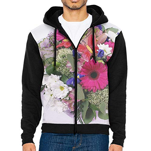 Mens Polyester Zip Up Hoody Hooded Zipper Top Warm Pullover Hoodies Flower Butterfly Tracksuit Sweatshirt Hoodie