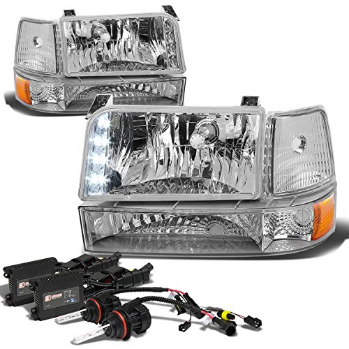 - For Ford F-Series/Bronco Pair of Chrome Amber Corner LED Headlight+6,000K 9007 Hi-Lo HIDs+Slim Ballasts
