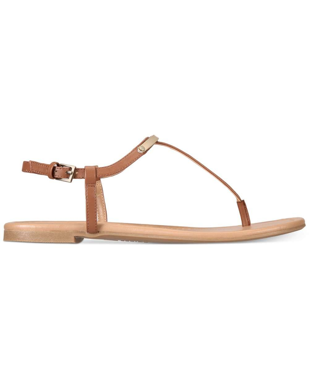 Call It Spring Womens Aareniel Open Toe Casual T-Strap Sandals, Cognac, Size 5.0