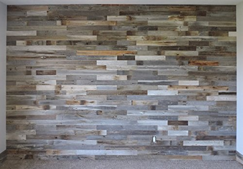 Box of 40 square feet. Reclaimed Wood Wall Paneling DIY asst 3-inch boards. Barnwood boards choice of colors.