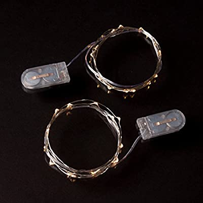 RTGS 2 Sets 15 Warm White Color Micro LED String Lights Battery Operated on 6 Feet Silver Wire