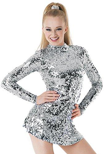 Balera Dance Dress Ultra Sparkle Long Sleeve Mock Neck With Keyhole Back and Built-In Biketard Silver Child Medium ()