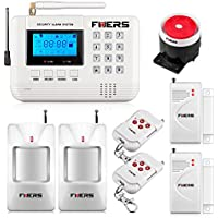 Fuers 433mhz GSM PSTN SMS Home Burglar Alarm System Voice Security Alarm Wired Siren 2 PCS Door Sensor White Auto-Dial DIY Kit