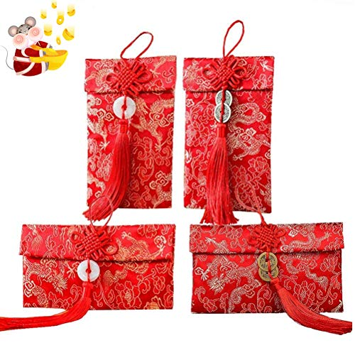 SUSHAFEN 4Pcs Chinese Hong Bao Embroidery Red Bag Silk Red Envelopes Fabric Gift Pocket Chinese Knot Pendant Red Envelopes for Wedding,Kids Birthdays,Chinese New Year Spring Festival