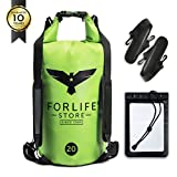 Premium Dry Bag Waterproof Sack Pack with Clear Plastic Panel, Padded Shoulder Straps, Bonus Waterproof Case | The Best Gear for Outdoor Activities and Sports | Green Blue 10L 20L by ForlifeStore