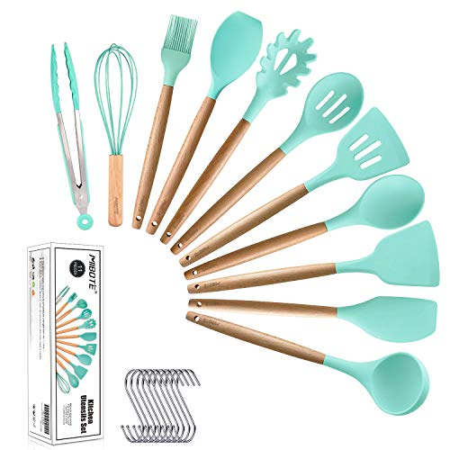 MIBOTE 11pcs Silicone Cooking Kitchen Utensils Set, Bamboo Wooden Handles Cooking Tool BPA Free Non Toxic Silicone Turner Tongs Spatula Spoon Kitchen Gadgets Utensil Set for Nonstick Cookware (Green) ()