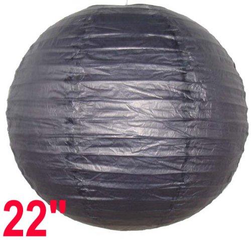 Just Artifacts 22-Inch Black Round Chinese Japanese Paper Lantern (1pc, Black)