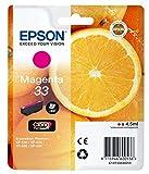 EPSON 33 Claria Oranges Premium Ink Cartridge, Magenta, Genuine