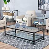 Studio Designs Home 71000.0 Camber Rectangle Coffee Table in Pewter with Clear Glass For Sale