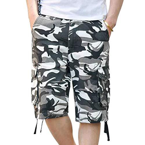 - ELETOP Men's Cargo Shorts Casual Lounge Shorts Multi Pocket Outdoor Wear Lightweight Basic Short Camouflage Black White JD02-32(S)