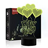 NChance LED Night Lights 3D Illusion Birthday Lamp 7 Colors Changing Sleeping Lighting with Touch Button Cute Halloween Gift Warming Birthday Present Creative Decoration Ideal Art and Crafts