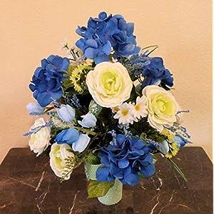 Blue Hydrangea Cemetery Arrangement, Cemetery Arrangement with Ranunculus, Flowers For Cemetery Vase 4