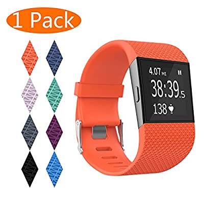 KingAcc Fitbit Surge Bands, Silicone Accessory Replacement Band for Fitbit Surge, With Metal Buckle Fitness Wristband Strap WatchBand Women Men Large Small Black, Orange, Gray, Blue, Purple, Plum