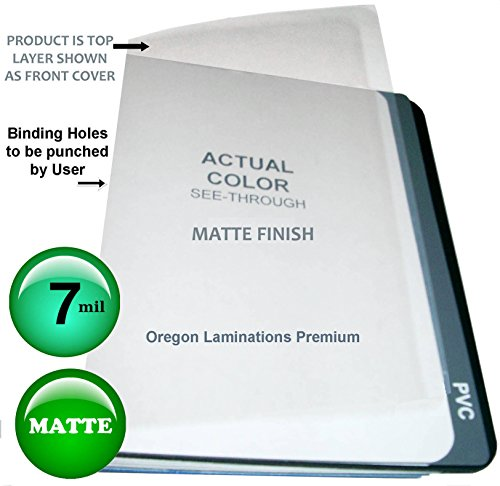 Qty 1000 Clear Matte Plastic Report Covers 7 Mil Binding Sheets 8-1/2 x 11 by Oregon Lamination Premium