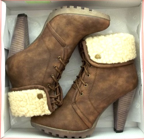 Heel Brown Lined Boots Lisa Womens 6 Shoe Core Collection Ankle Faux Size Fur High xOqvX8O