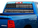 """P472 Police American Flag Tint Perforated Rear Window Decal 65"""" x 17"""" Universal Wrap F150 F250 1500 2500 PickUp SUV Ford Dodge Chevy Ram GMC Jeep Cherokee Wrangler"""