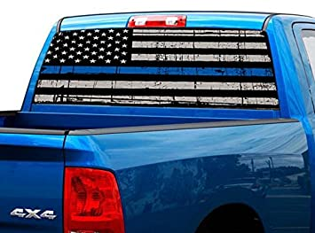 Amazoncom P Police American Flag Tint Perforated Rear Window - Chevy truck stickers for back window