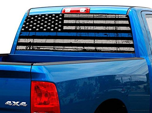 P472 Police American Flag Tint Rear Window Decal Wrap Graphic Perforated See Through UNIVERSAL SIZE 65