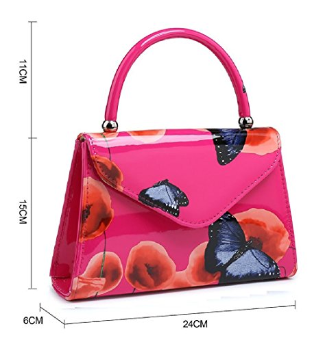 Top Butterfly Poppy Handle 1 Ladies Handbag Clutch Patent Summer Bag Women's MA34871 Black Floral EqHWz74