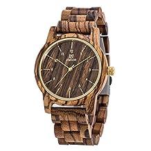 Wood Watch,BIOSTON Natural Handmade Unisex Gold Luxury Design Vintage Wrist Watches,Men's Zebra Wooden Watch