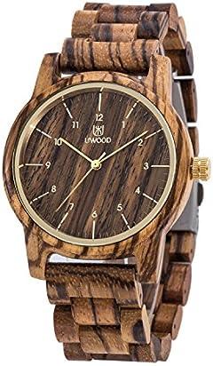 Wooden Watches Men,BIOSTON Natural Handmade 40mm Unisex Design Zebra Wood Grain Wrist Watch with Adjust Tool