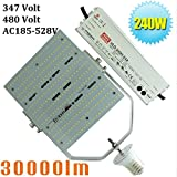 (Pack of 4) 480V 1000W Metal Halide Sodium Replacement LED 347V Parking Lot Shoebox Lights 240W Retrofit Kits,E39 Large Mogul Screw Base,5700K Daylight White in Sports Ground AC185-528V Input