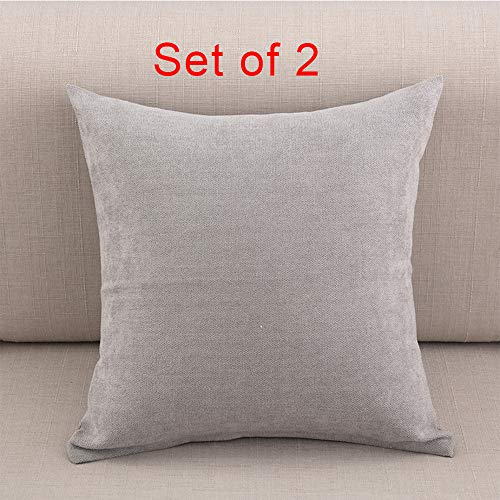 JOSMACO Soft Cotton Solid Decorative Throw Pillow Covers Pillow Cases Sofa Chair Bed 2 pieces 18
