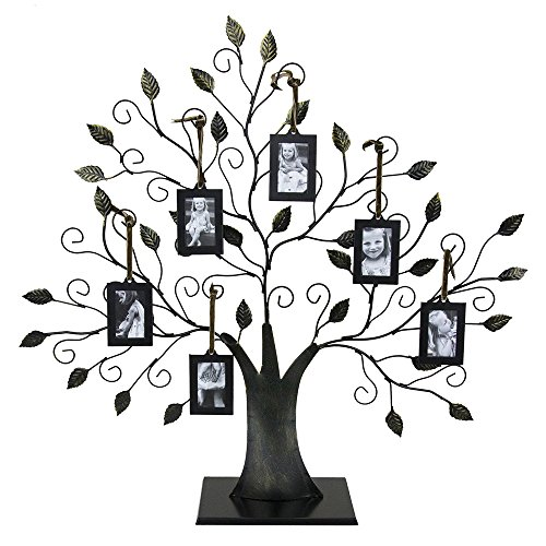 (Large Bronze Family Tree of Life Picture Holder with Six 2 x 3 inch Frames)