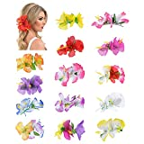 14 Pack Fake Artifical Silk Tropical Hibiscus Flower Hair Clips Barrettes Clamps Bows With Clear Alligator Brooch Pins Hawaiian Luau Hula Party Wedding Bridal Dancer Hair Piece Accessories for Women