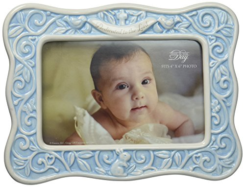 "Enesco This is the Day by Gregg Gift Blue Glazed Ceramic Baby Photo Frame, 4x6"" by Enesco Faith & Grace by Gregg Gift"