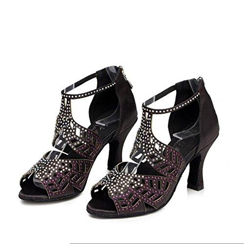 para Do Do Noche Zapatilla Práctica Zapatos Latinos 35 Satén Mujer Fiesta Negras Hebilla Color de XUE Talón Acampanados Tacón Baile Sandalia de Deporte Tamaño y Zapatos de de Acampanados 4EfxAwwq