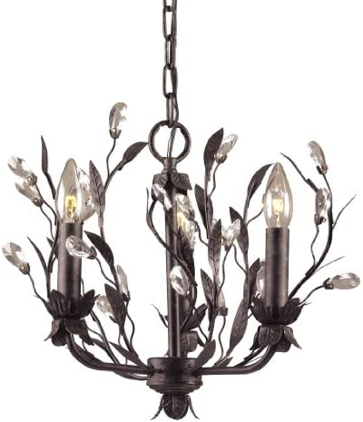 Elk 8058 3 3-Light Chandelier In Deep Rust and Crystal Droplets