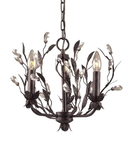 Elk 8058/3 3-Light Chandelier In Deep Rust and Crystal (Garden District Collection)