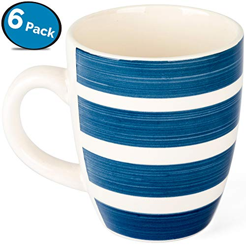 Blue and White Coffee Mug Set - Hand Made Stoneware Ceramic - by LVKH (12.5 oz, 6 pieces)