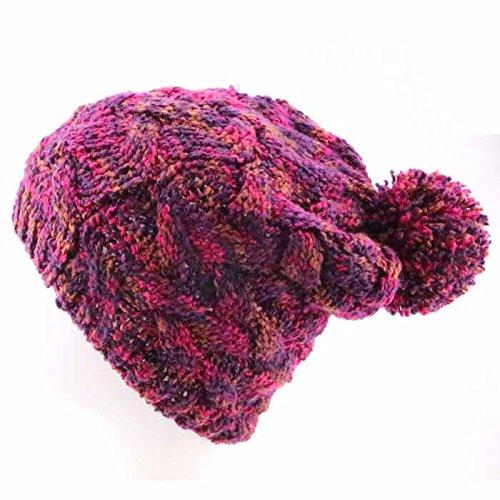 Americanas 1 del Sombreros 1 Knit Bola Las Maozi la Invierno señoras del Las Sombrero Hilado Moda señoras del con Casco qXOUHEw