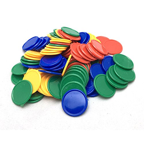 SmartDealsPro Set of 100 1 Inch Plastic Learning Counting Counters Game Tokens Mini Poker Chips-Random Color (Token Plastic)