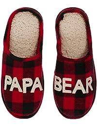 Men's Papa Bear Plaid Clog Slipper
